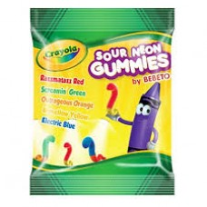 Crayola Fun Peg Bag Sour Neon Gummies 3.5oz