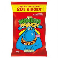 Mega Monster Munch Flamin' Hot Crisps (48g) - 30Packs